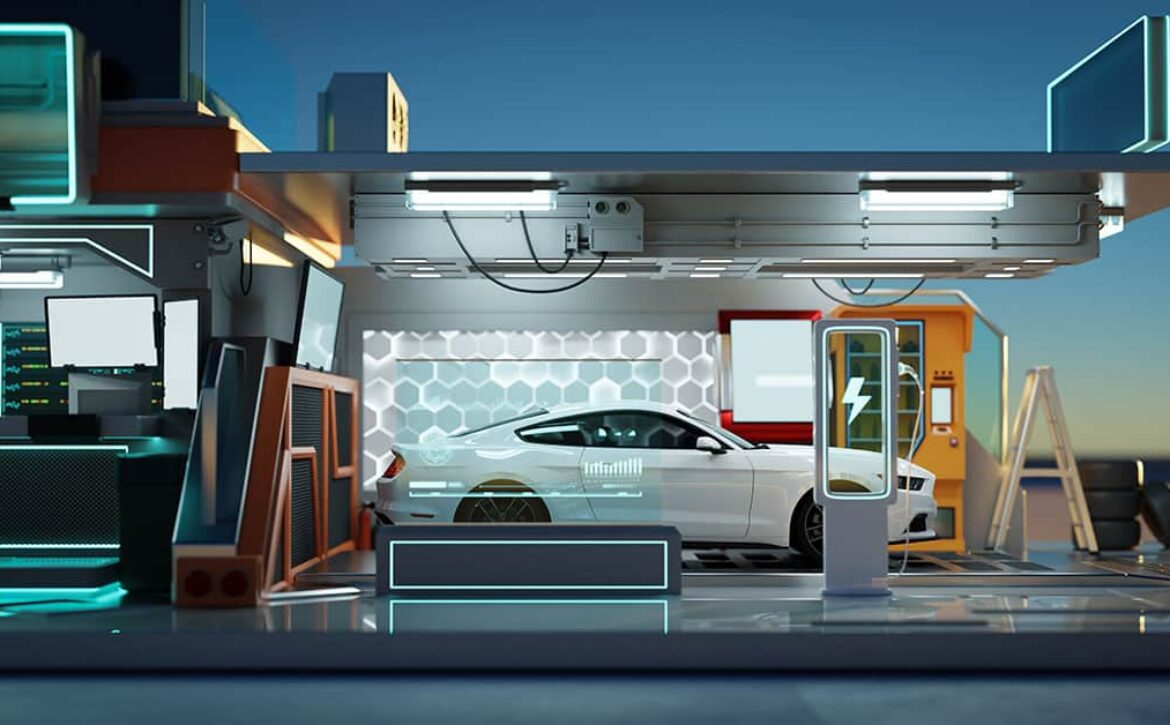 Electric car at futuristic charging station.3D rendering.