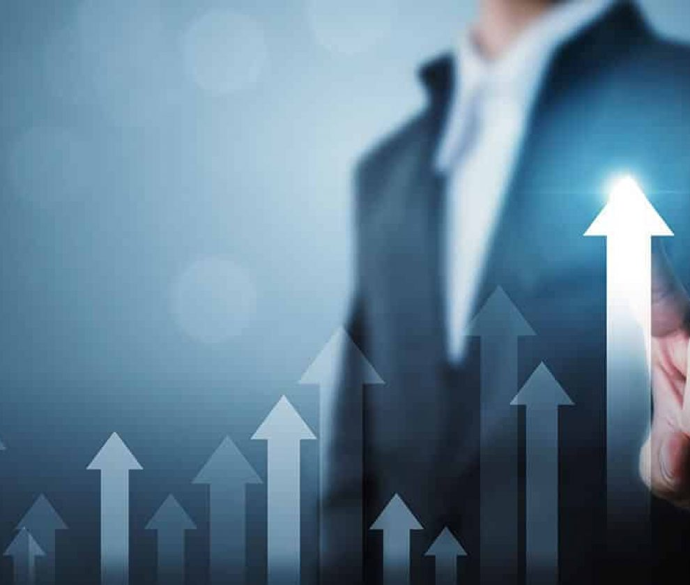 Business development to success and growing growth concept. Businessman pointing arrow graph corporate future growth plan and increase percentage
